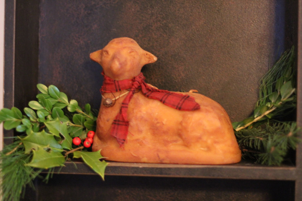 This beeswax lamb was made by my sister Bethy with an antique chocolate mold.