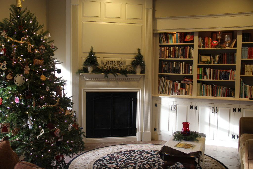 Family room mantle and tree.